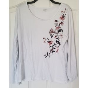 LOFT White with Floral Pattern Long Sleeved Tee XL